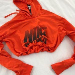 Orange Nike drawstring crop hoodie NWT